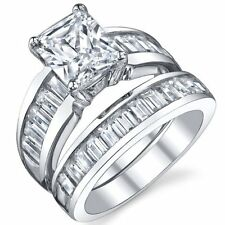 Sterling Silver 3 Carat Radiant Cut Cubic Zirconia Engagement Ring Wedding Brid