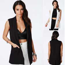 Hot Sale Women Summer Long Line Sleeveless Duster Coat Blazer Waistcoat Jacket