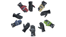 Leather Gauntlet Motorbike Racing Gloves with Carbon Fiber Inserts Long Cuff