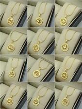 "18k Yellow Gold Filled 12 Horoscope Pendant Necklace 18""Chain Charms GF Jewelry"