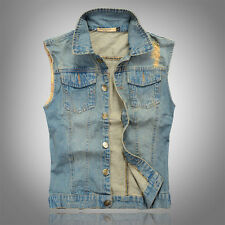 cowboy vest Mens Sleeveless Jacket Vest Waistcoat Coat Denim Jeans Weskit M-3XL