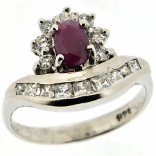 .925 Sterling Silver 0.85 Ct Natural Ruby & Cz Ring