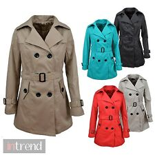 NEW LADIES DOUBLE BREASTED MAC JACKET WOMENS FITTED TRENCH COAT 5 COLOURS 8-16