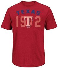 Texas Rangers Majestic 3 Base Hit Mens Red Heather Shirt Big & Tall Sizes
