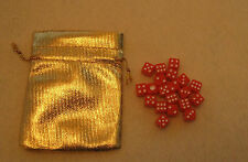 NEW 20 mini Red Dice Set with Gold Bag (8mm d6: bulk wholesale lot)