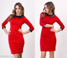 Women Red 3/4 Sleeved Pencil Dress Tunic Eco Leather Collar Office Size XXL 16.