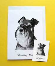 Miniature Schnauzer Dog Large A5 Birthday Card & Gift Tag with choice of 5 verse