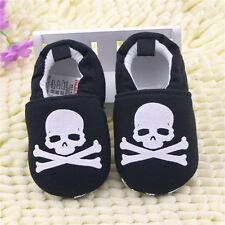 Infant Baby Boy Girl Skull Soft Sole Crib Shoes Size 0-6 6-12 12-18 Months
