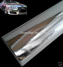 200MM x 100MM SILVER MIRROR CHROME WRAPPING VINYL AIR DRAIN STICKY BACK PLASTIC
