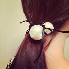 Girl White Double Pearl Satin Ribbon Bow Hair Band Rope Ponytail Holder Stretch