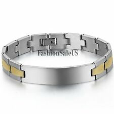 Men's Silver Gold Polished Stainless Steel Bracelet Simple Wristband Clasp Link