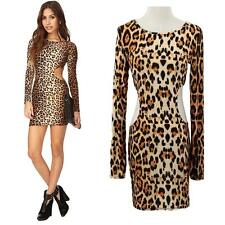 Sexy Women Dress Leopard Print Cutout Waist Long Sleeve Mini Dress Clubwear S-XL