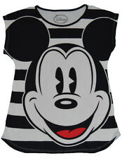 Disney Large Face Mickey Mouse Junior Size Striped Fashion T Shirt  free sticker