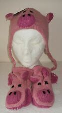 KIDS KNITTED HAT & MITTENS SET Pink Pig Penguin Reindeer Tiger Monkey 100% WOOL