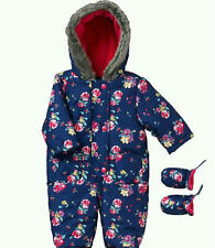 John Lewis Snowsuit Floral Navy Baby Girls 3-6 Months (16lbs 3oz) New