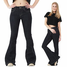 New Womens Ladies Dark Blue 60s 70s Retro Bell Bottoms Flares Wide Flared Jeans