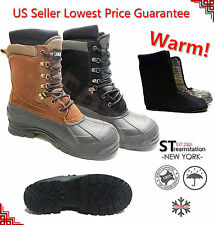 FREE SOCKS+Kingshow Men's Winter Snow Boots Shoes Leather Waterproof 1280