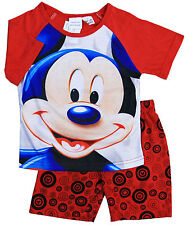 NEW Sz 1~3 BOYS SUMMER PJ DISNEY MICKEY MOUSE PYJAMAS KIDS SLEEPWEAR TOP TSHIRT