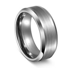 8mm Men's White Tungsten Ring Comfort Fit Matte Finished Center Wedding Band