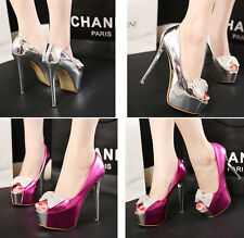 New Women's Peep Toe Bow Pumps Party Patent Leather Platform High Heels Shoes