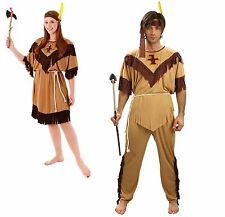 Red Indian Woman/Men Squaw Costume Pocahontas Ladies/Gents Fancy Dress One Size