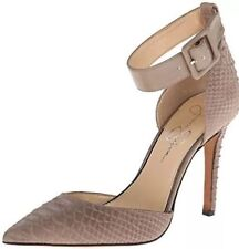 Jessica Simpson Cayna Ankle Strap Pumps Kid Suede Beige Pointed Stiletto USA New