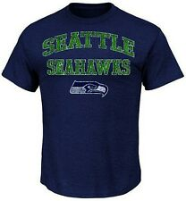 Seattle Seahawks NFL Majestic Team Shine T Shirt Navy Heather Big And Tall Sizes