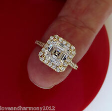 real 14K solid white Gold 2.38 Asscher brilliant cut Solitaire Engagement Ring