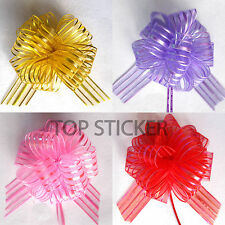 "6"" Pom Pom Bow 50MM LARGE ORGANZA RIBBON PULL BOWS WEDDING PARTY GIFTWRAP"
