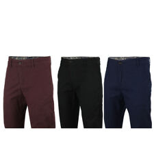 Mens Cotton Stretch Slim Fit Chino Pants Paisley Trim Turn up Trousers 4 Colours