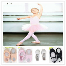 BALLET DANCE SHOES Ladies Girls Kids Canvas US Size Black/Pink/White/Incarnadine