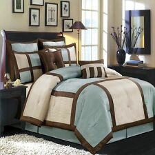 8pc Luxury Morgan Blue Comforter Set Bed in a Bag with Euro Shams and Pillows