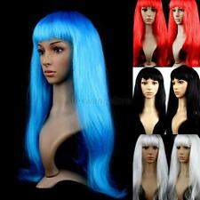 Girls Long Straight Fancy Dress Wigs Cosplay Costume Ladies Full Wig Party A95