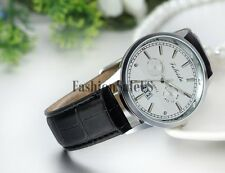 Men's Business Decoration Dial Leather Band Analog Quartz Wrist Watch With Date
