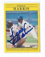 1991 FLEER #204 LENNY HARRIS AUTO AUTOGRAPHED CARD SIGNED W/COA DODGERS MARLINS