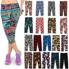 Yoga Gym Womens Lady Floral Fitness Stretch Cropped Leggings Pants Trousers New
