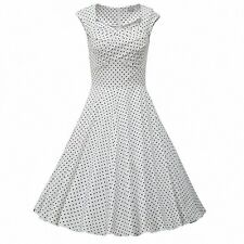 Hepburn Style 1950's Polka Dot Rockabilly Swing Evening Pinup Prom Retro Dress