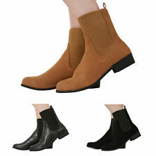 WOMENS LADIES PULL ON FLAT LOW HEEL ELASTICATED ANKLE CHELSEA BOOTS SHOES