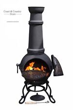 Toledo Solid Cast Iron Chimenea Chiminea + BBQ Grill Griddle Bronze or Black