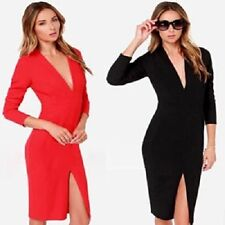 Sexy V Neck Womens Bodycon Office Work Evening Party Cocktail Pencil Dress D008