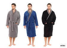New Mens Coral Fleece Dressing Gowns Supersoft Bath Robe BLUE GREY HT701A