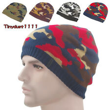 Men's Winter Camo Beanie Hat Thick Fleece Lined Knit Skull Ski Cuff Stocking Cap