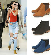 Ladies Ankle Boots Womens Flat Low Mid Heel Pull On New Chelsea Shoes Size
