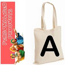 Alphabet Initial Letter A-Z Personalise Custom Text Cotton Tote Shopping Bag LOT