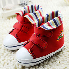 Baby Boy Girl Red Soft Sole Crib shoes sneakers Size 0-6 6-12 12-18 Months