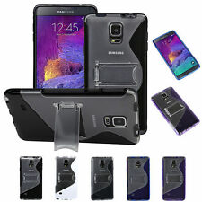 S-Shape S-Line TPU Gel Skin Cover Hard Kick-Stand Case For Samsung Galaxy Note 4