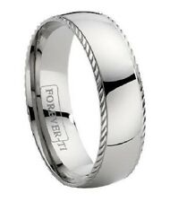 Men's 7mm Comfort Fit Classic Titanium Wedding Ring with Polished Finish and De