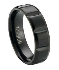 Men's 6mm Contemporary Black Titanium Wedding Ring with Satin Finish and Vertic