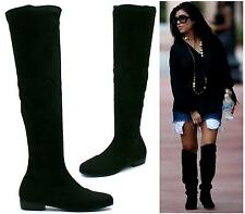 LADIES WOMENS BLACK LOW HEEL FLAT KNEE HIGH RIDING BOOTS SHOES SIZE
