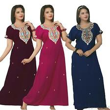 LADIES 100% COTTON LONG NIGHTDRESS NIGHTY CHEMISE EMBROIDERY DETAILED SIZE 14-24
